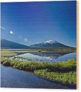 Mount Bachelor Lens Flare Wood Print