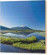 Mount Bachelor Vertical Reflection Wood Print