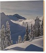 Mount Baker Snowscape Wood Print by Mike Reid