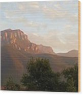 Mount Boney Sunset In Oils Wood Print