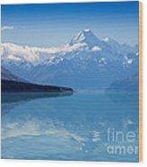 Mount Cook Reflecting In Lake Pukaki Wood Print