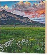 Mount Crested Butte Summer Sunset Wood Print