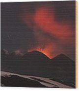Mount Etna Erupting At Night, 2012 Wood Print