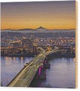 Mount Hood And Morrison Bridge Wood Print