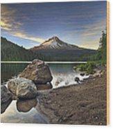 Mount Hood At Trillium Lake Sunset Wood Print