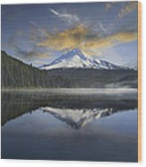 Mount Hood At Trillium One Early Morning Wood Print