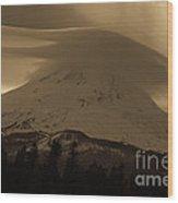 Mount Hood In The Clouds Wood Print