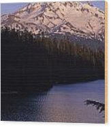Mount Hood With Kids In Row Boat Silhouetted Wood Print