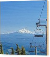 Mount Jefferson And Chairlifts Wood Print