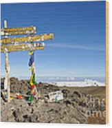 Mount Kilimanjaro Summit Sign In 5.895 Meters With Northern Ice Fields Beyond  Wood Print