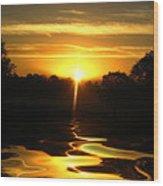 Mount Lassen Sunrise Gold Wood Print