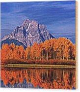 Mount Moran And Fall Color Grand Tetons Wood Print