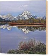 Mount Moran And Jackson Lake Wood Print
