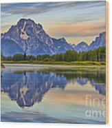 Mount Moran At Sunrise Wood Print