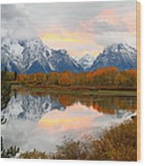 Mount Moran Reflection Sunset Wood Print