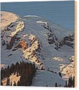 Mount Rainier Alpenglow Wood Print