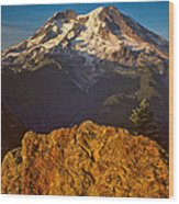Mount Rainier At Sunset With Big Boulders In Foreground Wood Print