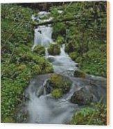 Mount Rainier Brook Wood Print