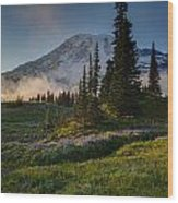 Mount Rainier Evening Fog Wood Print