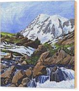 Mount Rainier From Edith Creek Wood Print