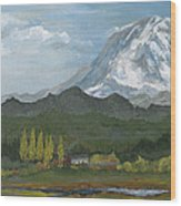 Mount Rainier From Lake Rap John  Wood Print