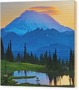 Mount Rainier Goodnight Wood Print