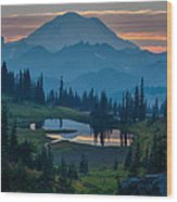 Mount Rainier Layers Wood Print