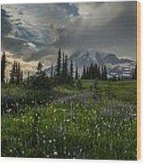 Mount Rainier Meadows Storm Brewing Wood Print