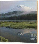 Mount Rainier Shrouded In Fog Wood Print