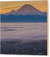 Mount Rainier Sunrise Mood Wood Print