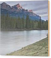 Mount Rundle And The Bow River At Sunrise Wood Print