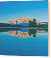 Mount Rundle At Jack Lake Wood Print