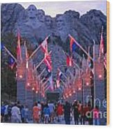 Mount Rushmore At Night Wood Print