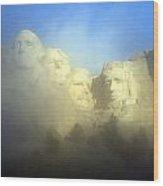 Mount Rushmore National Memorial Through The Fog  Wood Print
