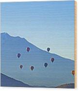 Mount Shasta Balloonrise Wood Print