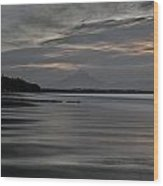 Mount Taranaki At Low Tide Wood Print