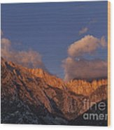 Mount Whitney In Clouds Alabama Hills Eastern Sierras California  Wood Print