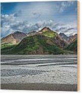 Mountain Across The River Wood Print