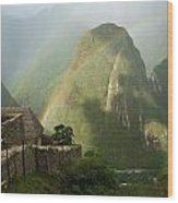 Mountain And Train Below Along Urubamba Wood Print