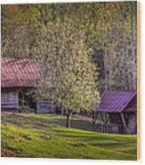 Mountain Barns In North Carolina Wood Print