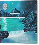 Mountain Bay Wood Print