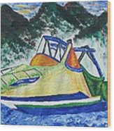 Mountain Boating Wood Print