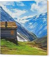 Mountain Cabin Wood Print