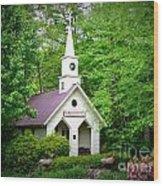 Mountain Chapel Wood Print by Crystal Joy Photography