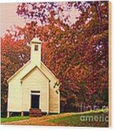 Mountain Church In Fall Wood Print
