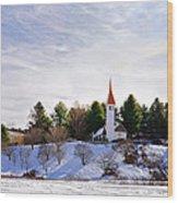 Mountain Church In Winter Wood Print