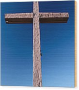 Mountain Cross Wood Print