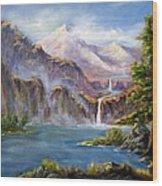 Mountain Falls Wood Print