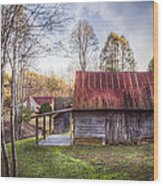 Mountain Farm Wood Print