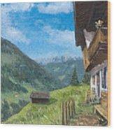 Mountain Farm In Austria Wood Print